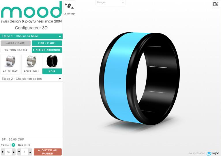 Vue de l'interface UI du configurateur de bague Mood