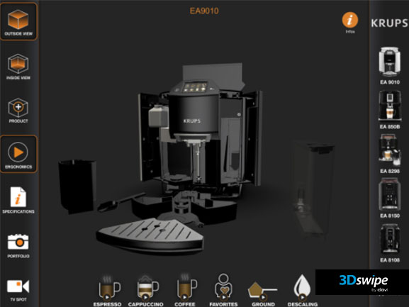 Rendu 3D interactive du démonstrateur Krups Expresso