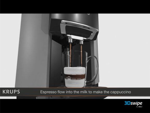 Animation 3D du démonstrateur Krups Expresso