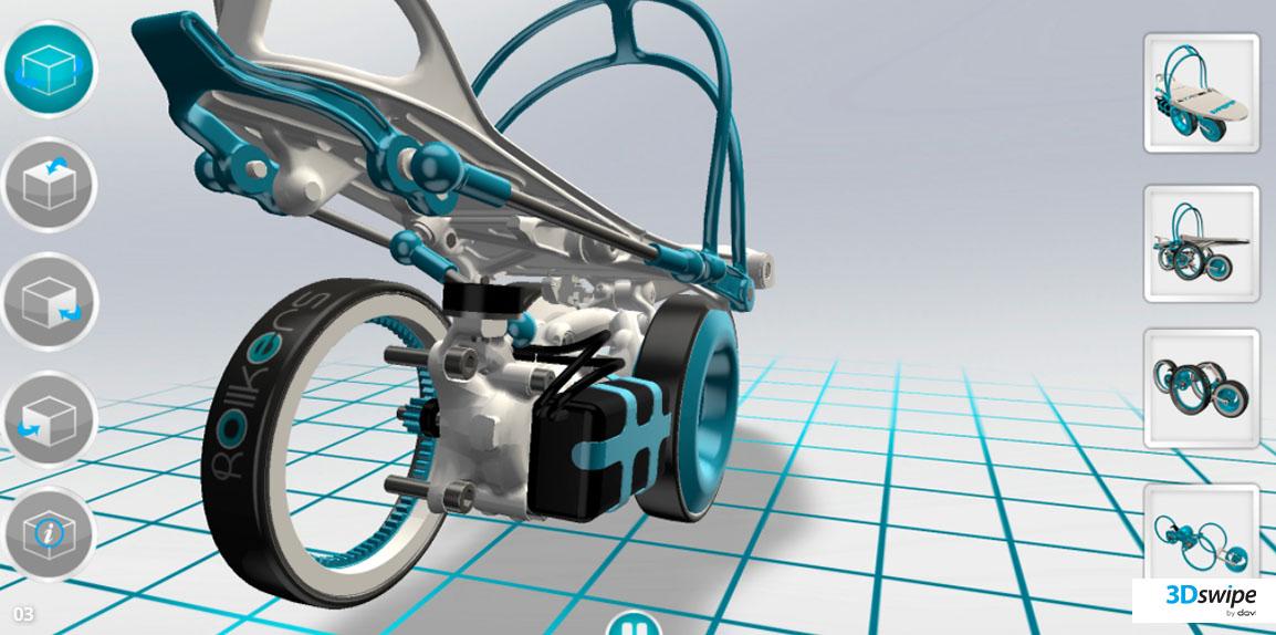 Rendu 3D temps réel du démonstrateur Rollkers