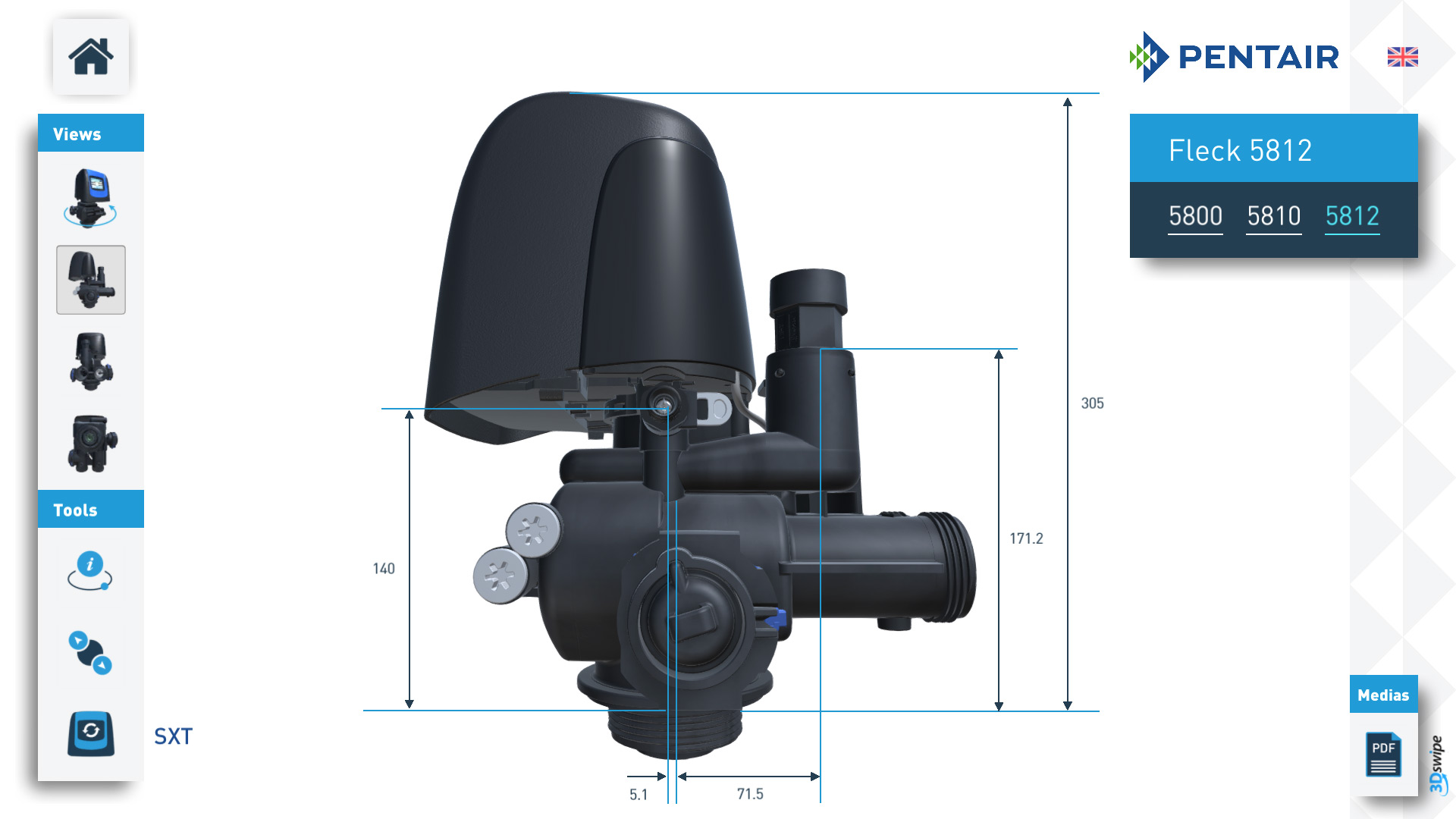 Rendu 3D 3Dswipe pour Pentair