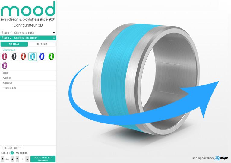 Interface 3DSwipe onfigurateur de bague Mood