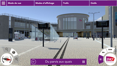 Vue 3DSwipe du simulateur de la Gare de Dijon pour la SNCF