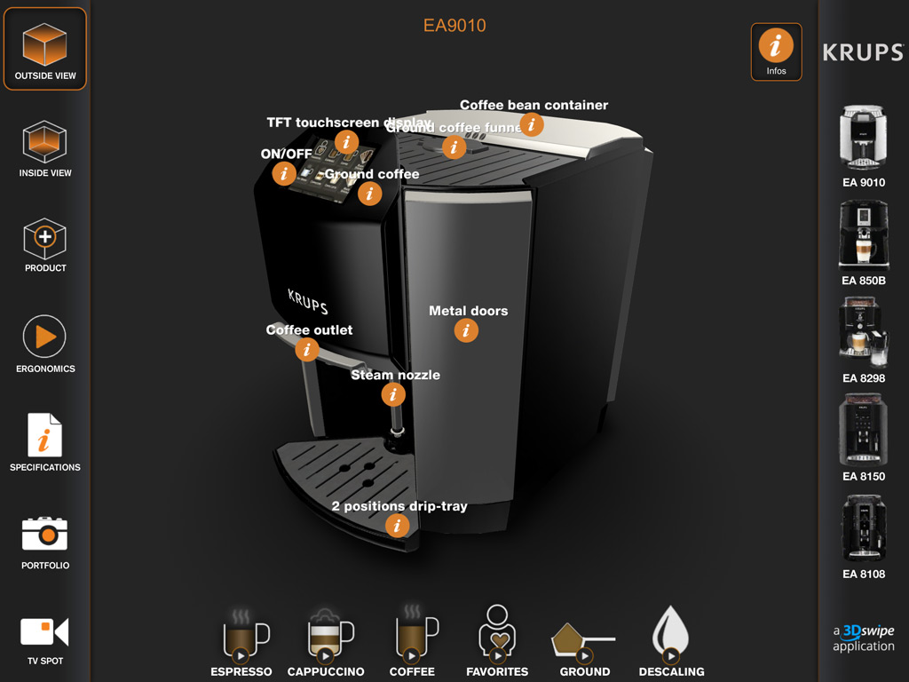 Rendu 3D du démonstrateur Krups Expresso