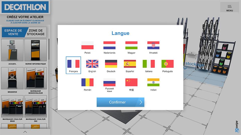 Choix des langues Atelier Decathlon